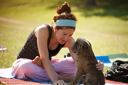 Doga, Yoga girl with her dog